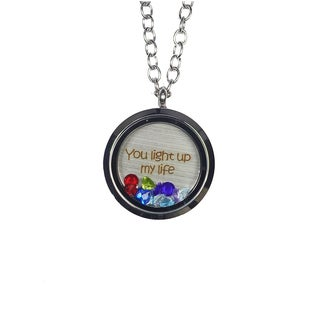 Pink Box 'You Light Up My Life' Stainless Steel Love Message Locket