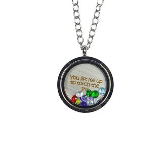 Pink Box 'You Lift Me Up To Torch The Sky' Stainless Steel Love Message Locket