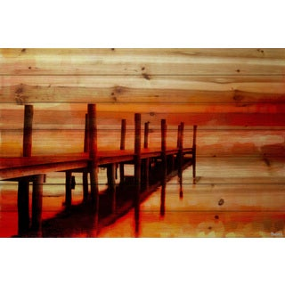 Parvez Taj - Sunset Dock Painting Print on Natural Pine Wood