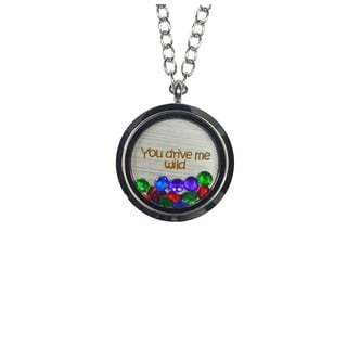Pink Box 'You Drive Me Wild' Stainless Steel Love Message Locket