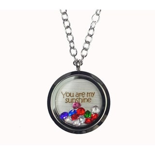 Pink Box 'You Are My Sunshine' Stainless Steel Love Message Locket