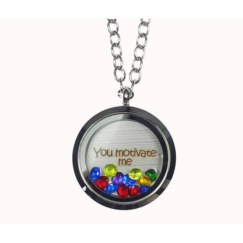 Pink Box 'You Motivate Me' Stainless Steel Love Message Locket