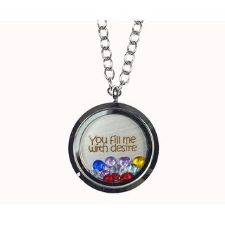 Pink Box 'You Fill Me with Desire' Stainless Steel Love Message Locket