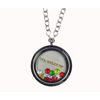Pink Box 'You Seduce Me' Stainless Steel Love Message Locket