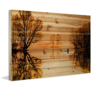 Parvez Taj - Glass Lake Painting Print on Natural Pine Wood