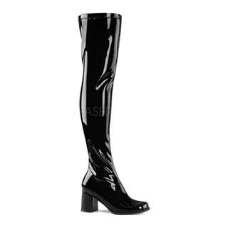 Women's Funtasma Gogo 3000 Thigh High Boot Black Stretch Patent