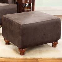Sure Fit Brown Stretch Ottoman Slipcover in Brown (As Is Item)