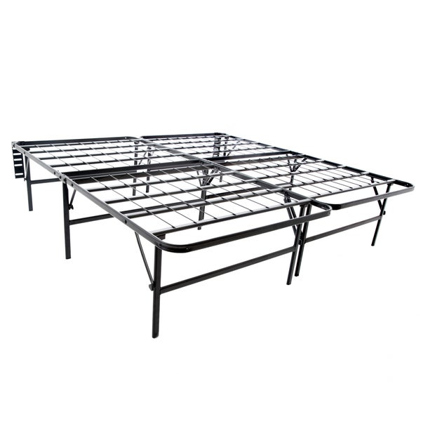 structures highrise foldable bed frame mattress foundation 18 inch deluxe height cal king. Black Bedroom Furniture Sets. Home Design Ideas