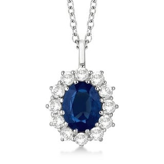 14k Gold 3.60ct Oval Blue Sapphire & Diamond Pendant Necklace