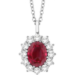 14k Gold 3.60ct Oval Ruby & Diamond Halo Pendant Necklace