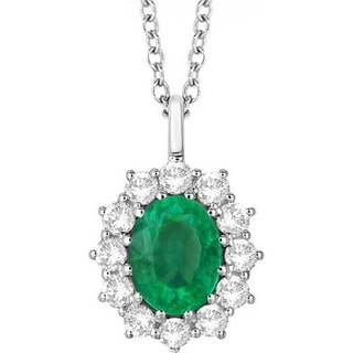 14k Gold 3.60ct Oval Emerald & Diamond Halo Pendant Necklace