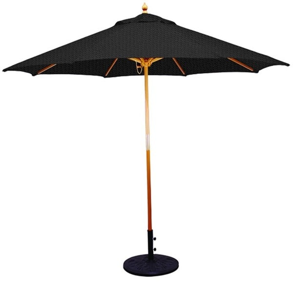 9 Umbrella With Light Wood Pole And Black Shade Free
