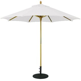 9' Umbrella with Light Wood Pole and White Shade