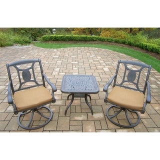 Cast Aluminum Chat Set, with 2 Sunbrella Cushioned Swivel Rockers, and Side Table