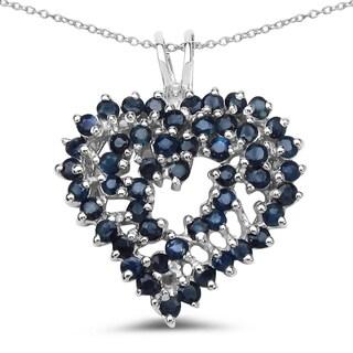 Malaika 2.30 Carat Genuine Blue Sapphire .925 Sterling Silver Pendant