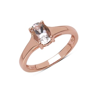 Olivia Leone 14K Rose Gold Plated 0.70 Carat Genuine Morganite .925 Sterling Silver Ring