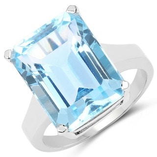 Malaika 15.50 Carat Genuine Blue Topaz .925 Sterling Silver Ring