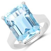 Malaika 15.50 Carat Genuine Blue Topaz .925 Sterling Silver Ring