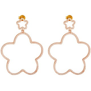 Rose Goldplated Silver Double Flower Star Cubic Zirconia Iced Drop Earrings