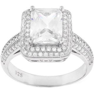 Sterling Silver Cubic Zirconia Pave Engagement Ring