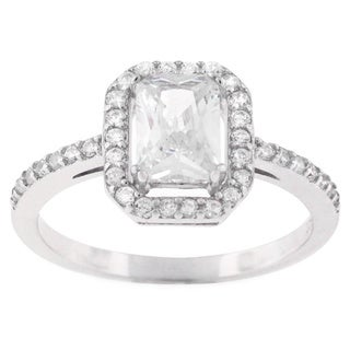 Sterling Silver Cubic Zirconia Pave Stone Engagement Ring