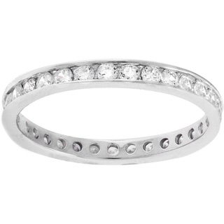 Sterling Silver Round Cubic Zirconia Eternity Band Ring