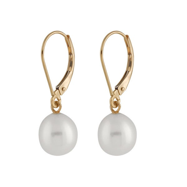 14k Yellow Gold Dangling Leverback Pearl Earrings 7 8mm