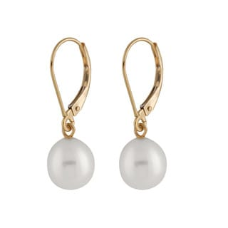 14k Yellow Gold Dangling Gold Leverback Pearl Earrings (7-8mm)