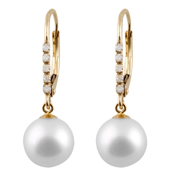 14k Two Tone Gold Diamond Accent And Pearl Leverback Earrings 8 9mm