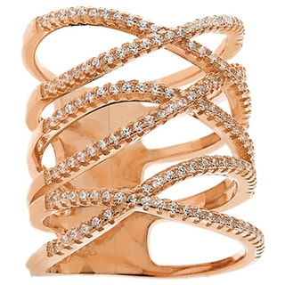 Rose Goldplated Silver Fancy Cubic Zirconia Iced Open Design Micro Pave Ring