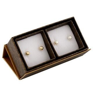 14k Yellow Gold Pearl Stud Earrings (6-7mm)