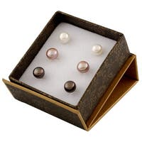 14k Yellow Gold White and Pink Freshwater Pearl Stud Earrings (7-8mm)