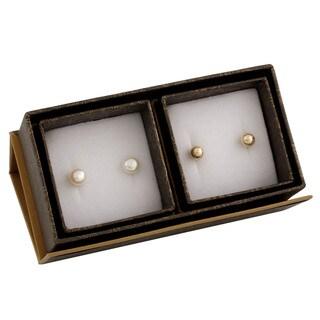 14k Yellow Gold Freshwater Pearl Duo Stud Earrings (6-7mm)