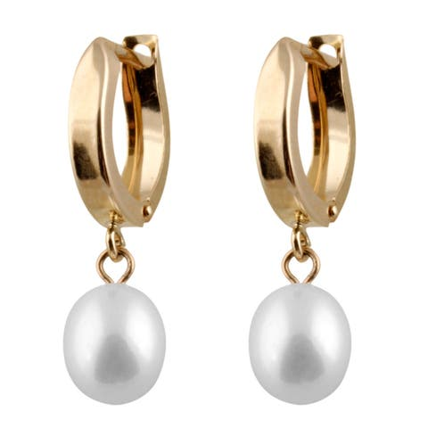 14k Gold Freshwater Pearl Round Stud Earrings (6-7mm)