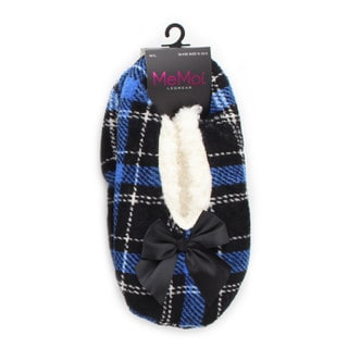 Memoi Women's Portrait Plaid Sherpa Lined Slipper