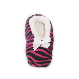 Memoi Women's Zebra Fluff Low Cut Slipper