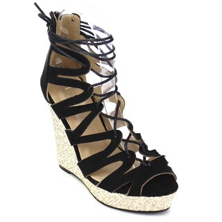Marilyn Moda WENDY Women's Strappy Lace-up Back Zip Gladiator Wedge Sandals