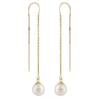 14k Yellow Gold Freshwater Pearl Long Dangle Earrings (7-8mm)