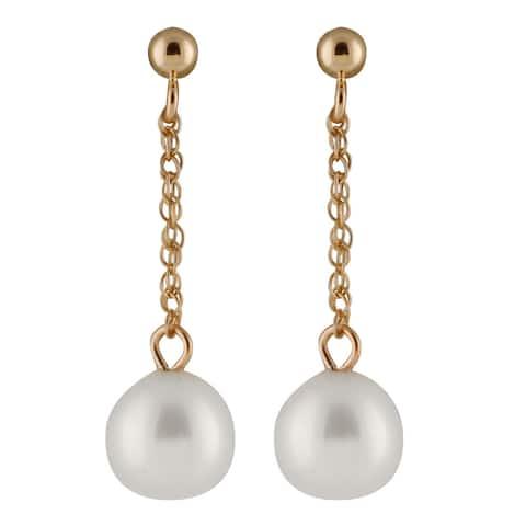 14k Yellow Gold Freshwater AAA Pearl Dangling Gold Ball Earrings (7-8mm) - White