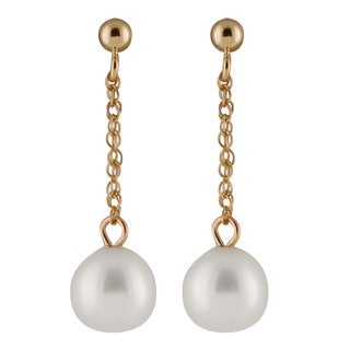 14k Yellow Gold Freshwater AAA Pearl Dangling Gold Ball Earrings (7-8mm)