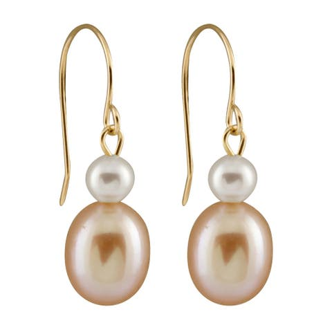 14k Yellow Gold Freshwater Pearl Earrings