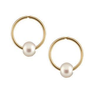 14k Yellow Gold AAA Freshwater Pearl Sleeper Earrings (4-5mm)
