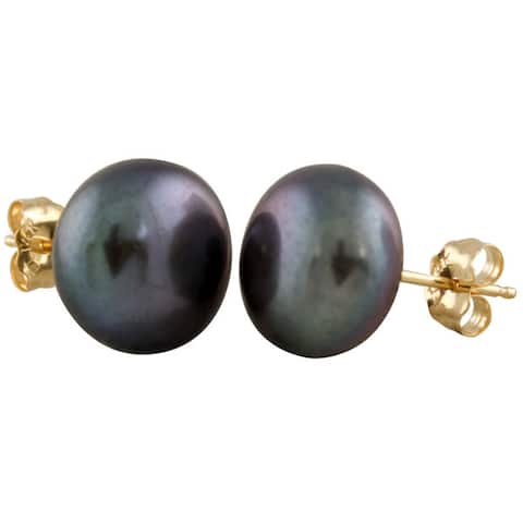 14k Yellow Gold Freshwater Pearl Stud Earrings (9mm)