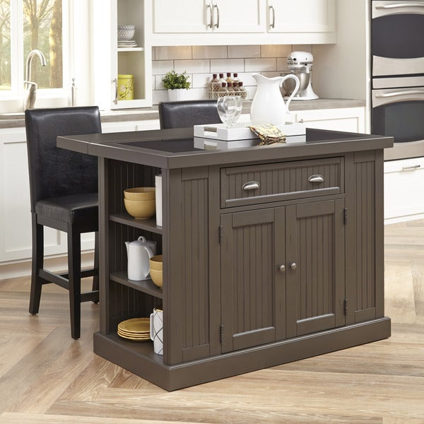 Add Your Kitchen With Kitchen Island With Stools: Stockbridge Kitchen Island And Two Stools By Home Styles