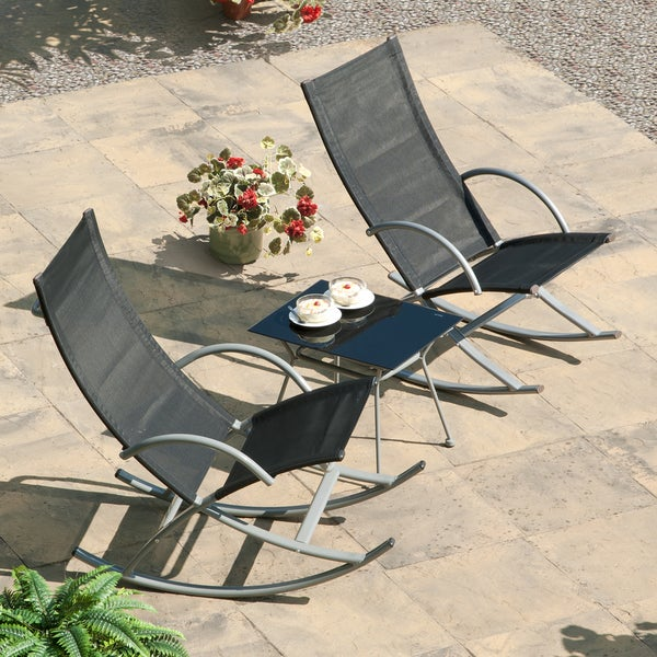 3 Piece Black Outdoor Rocking Chair And Table Set