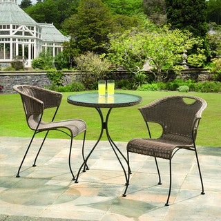 Wadebridge Rattan Bistro Set w/ Glass Table Top, comes w/2 chairs and a table