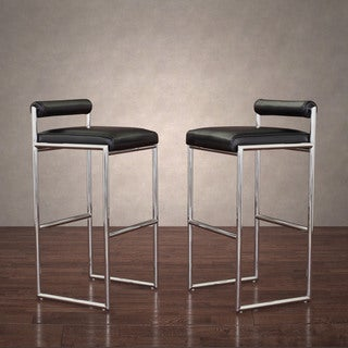 Metropolis Stainless Modern Black Leather Barstool (Set of 2)