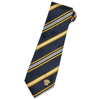 Versace 100-percent Italian Silk Navy/ White Stripe Neck Tie