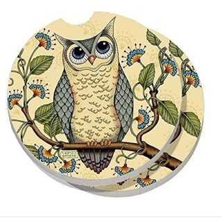 Counterart Absorbent Stone Car Coaster Wise Owl (Set of 2)