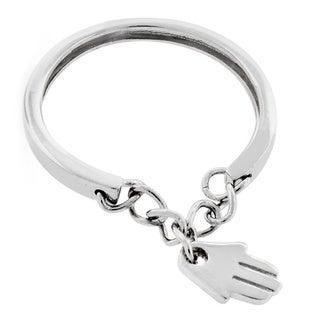 Sterling Silver Hamsa Charm Good Luck Ring